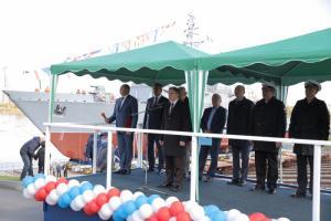 Михаил Романов принял участие в спуске на воду корабля «Георгий Курбатов»