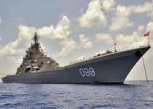 Крейсер `Петр Великий` встретился с отрядом кораблей США и Индии