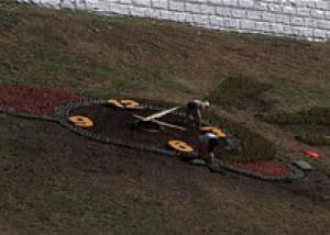 Набережную Волги в Костроме украсили цветочные часы
